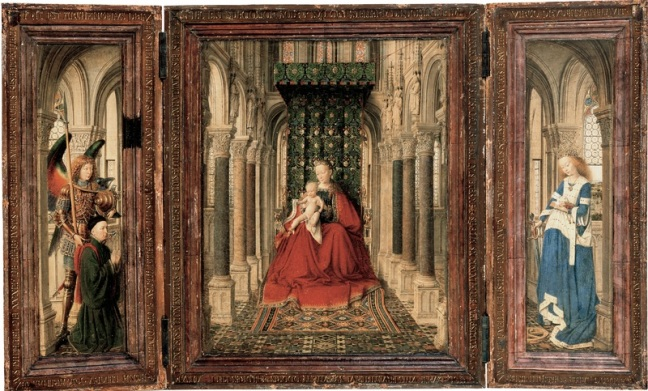 jan_van_eyck_-_triptych_of_mary_and_child__st-1-_michael__and_the_catherine_-_google_art_project